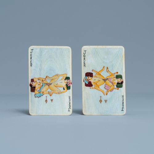Un jeu de cartes en ivoire aux miniatures érotiques, Inde, début du 20ème siècle…