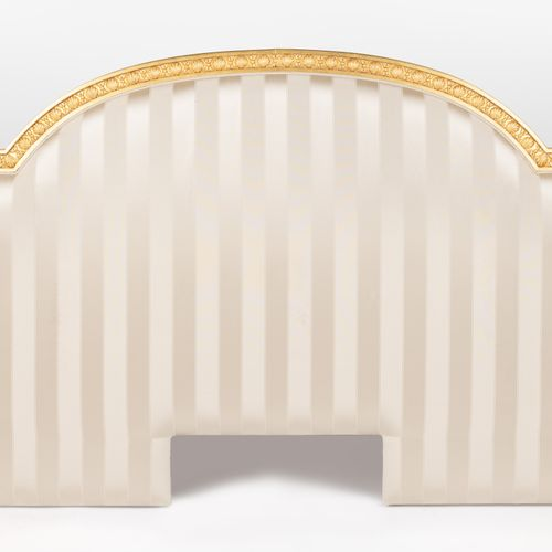 From a prestigious Parisian Palace Moulded and carved gilded wood headboard, cur…
