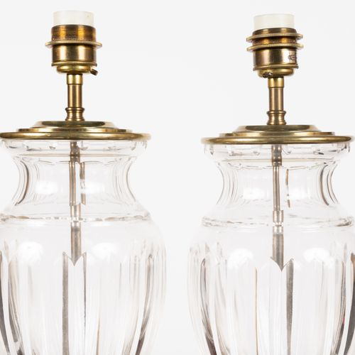 From a prestigious Parisian Palace Pair of glass lamp bases in the shape of a ga…