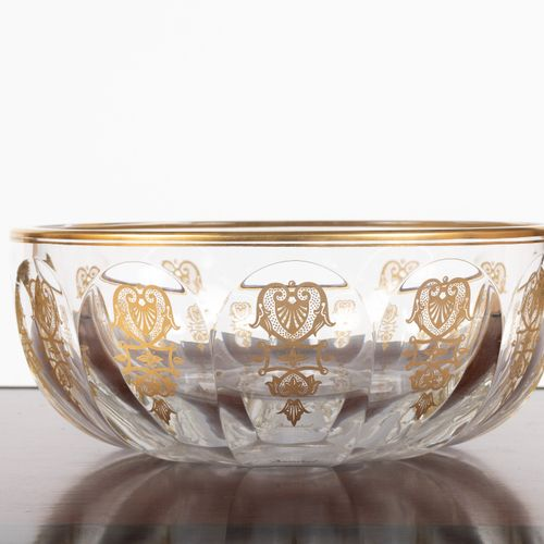 From a prestigious Parisian Palace Crystal fruit bowl with gold decoration. Diam…