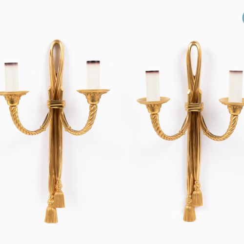 From a prestigious Parisian Palace Pair of gilt bronze sconces with two arms of …