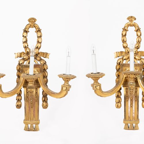 From a prestigious Parisian Palace Pair of moulded, carved and gilded wood sconc…