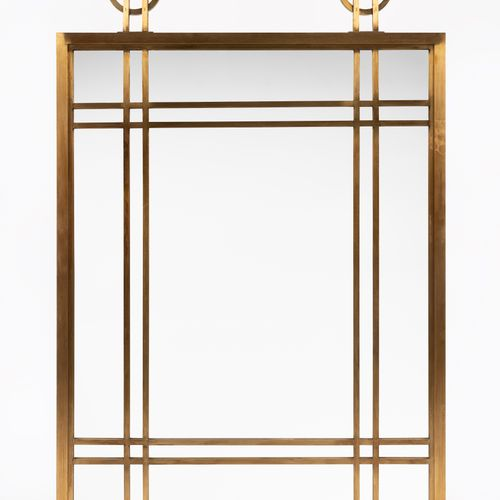 From a prestigious Parisian Palace Brass mirror. Modern work. H : 103,5 cm W : 7…
