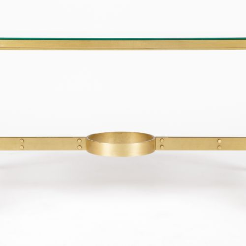 From a prestigious Parisian Palace Brass coffee table with agglomerated glass to…