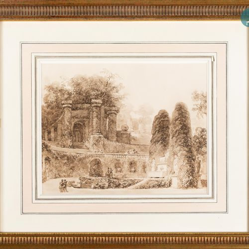 "From a prestigious Parisian Palace ""Romantic Garden"", reproduction, framed. Sigh…"