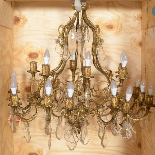 From a prestigious Parisian Palace Important chandelier cage in chased and gilde…