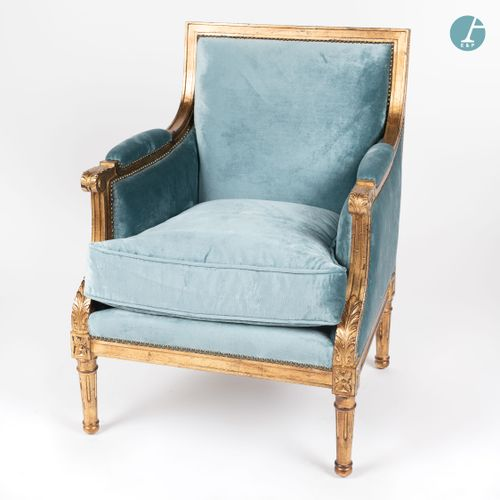 From a prestigious Parisian Palace Moulded, carved and gilded wooden shepherdess…
