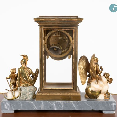 From a prestigious Parisian Palace Clock in gilt bronze and grey marble with whi…