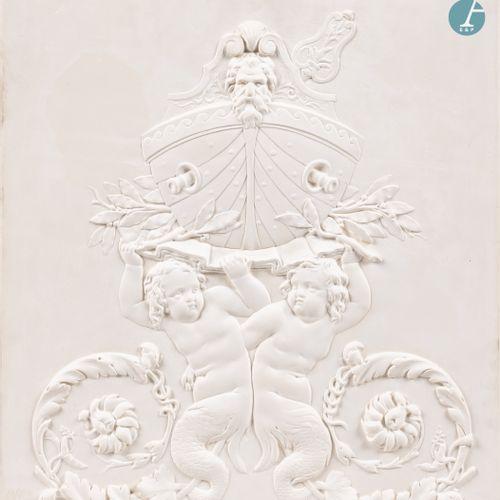 From a prestigious Parisian Palace Plaster cast depicting a Navy allegory. Dimen…