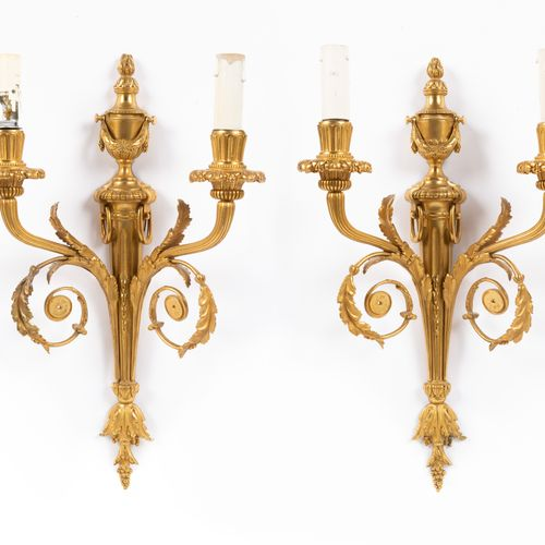 From a prestigious Parisian Palace Pair of chased and gilt bronze wall lights wi…