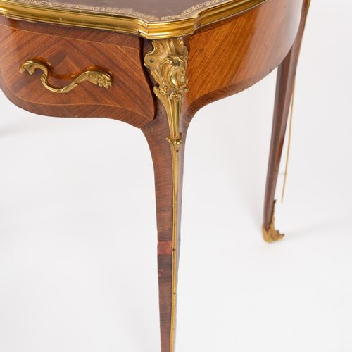 From a prestigious Parisian Palace Flat desk in natural wood and veneer wood, , …