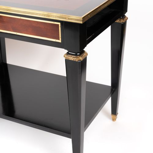 From a prestigious Parisian Palace Pair of tables in blackened and mahogany wood…