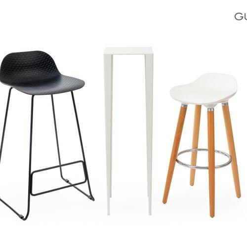 En provenance de l'ancien siège de GUERLAIN Lot comprenant :  une chaise de bar,…