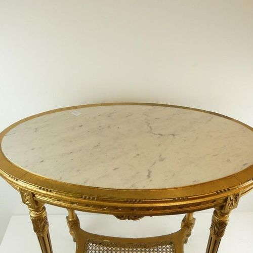 Very nice period console table in gilded wood with white marble top (76x91 cm)