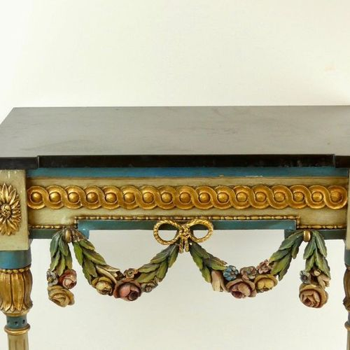 Carved wood Louis XVI console, belt decorated with a frieze of interlacing, rose…