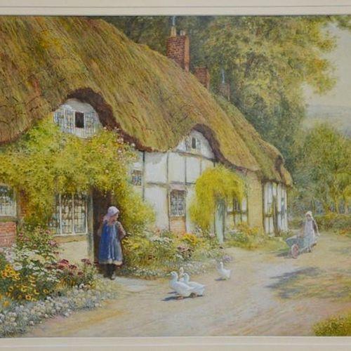 Arthur Claude Strachan (1865 1938) : Thatch Cottage dans un paysage avec des per…