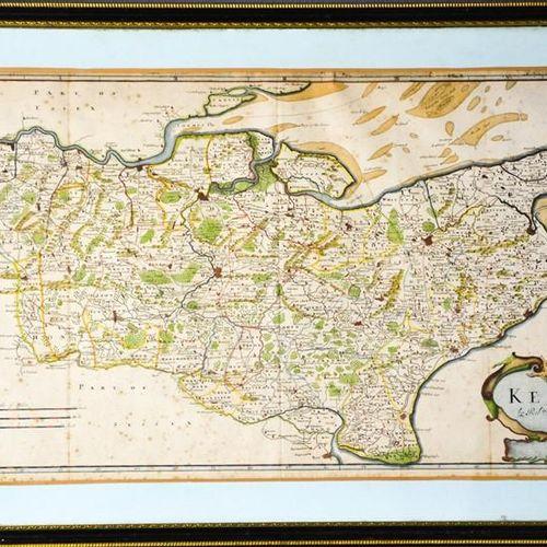 Carte du Kent du XVIIe siècle par Robert Morden, avec rehauts de couleur, 36 x 6…