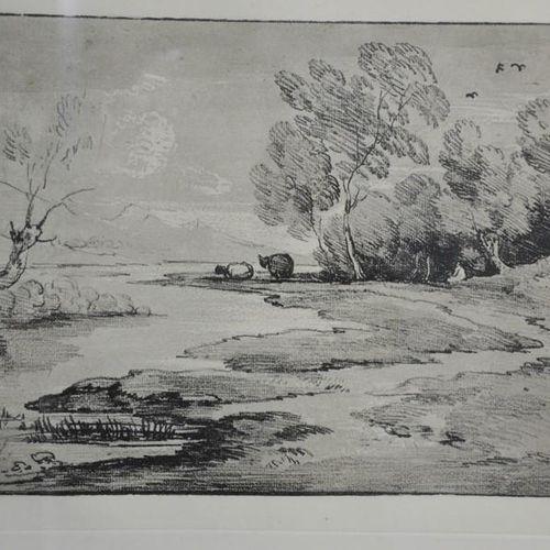 Thomas Gainsborough, paysage de rivière, gravure du 20ème siècle, 29 par 38cm.
