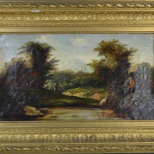 Agenes [19e siècle] : paysage de bord de rivière avec personnage au loin, huile …
