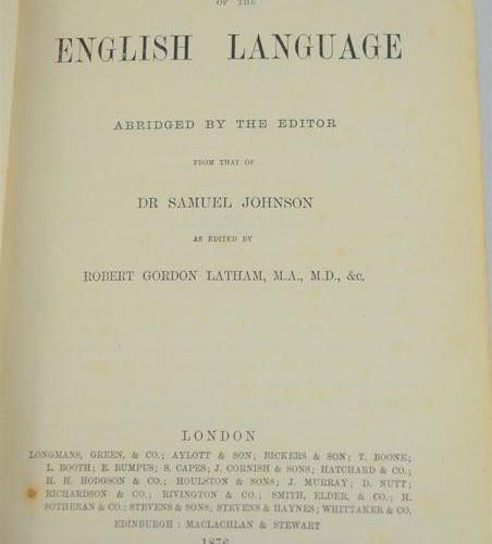 Dictionnaire Dr Samuel Johnson 1876.