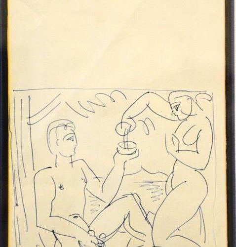 Attribué à Duncan Grant (1885 1978) : encre sur papier, non signé, 30 par 19cm.