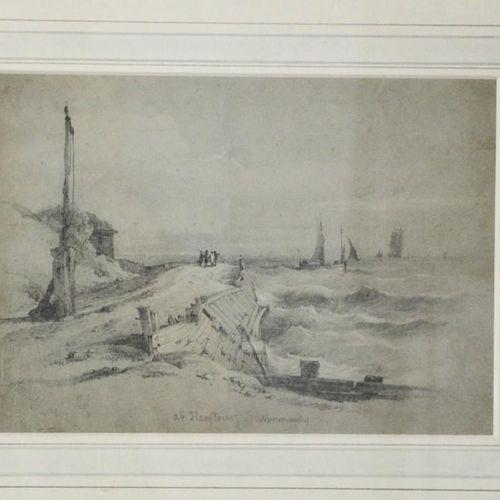 John Whichelo (1784 1865) : Honfleur, Normandie, esquisse au crayon, ainsi que W…