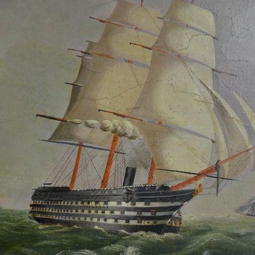 Huile sur toile du XIXe siècle représentant des navires de guerre dans une mer a…