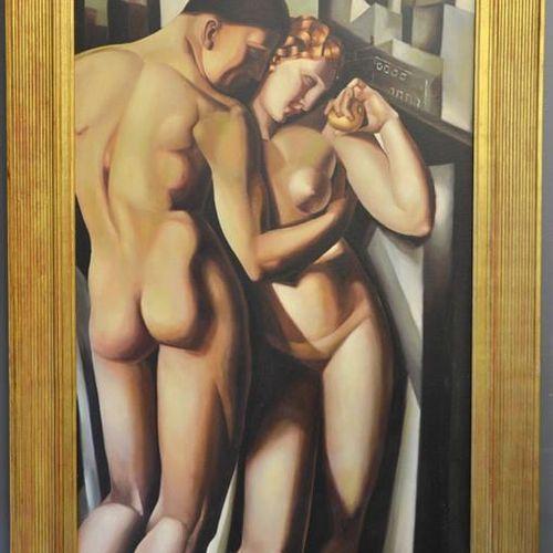 D'après Tamara de Lempika (20e siècle) : Adam et Eve, huile sur toile, non signé…