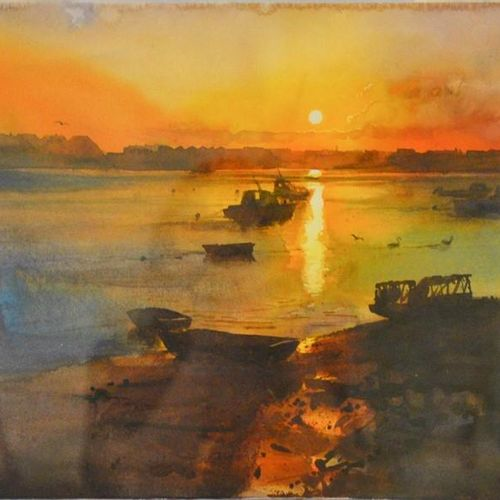 Cecil Rice (20e siècle), Sunset, aquarelle, 34 x 52 cm.