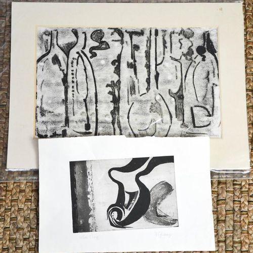 A Ginsbury (20e siècle) : Épreuve d'artiste et une gravure sur bois en couleur à…