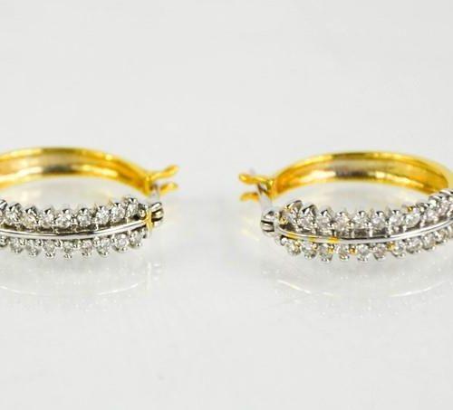 Boucles d'oreilles en or jaune 18 ct, cerclées de diamants, 0,5 ct environ, 5,4 …