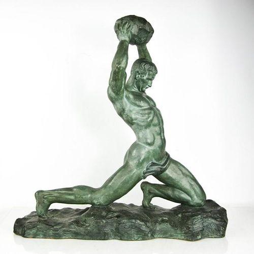 Eugène André OUDINÉ (1810 1887) : homme en terre cuite avec un rocher, signé sur…