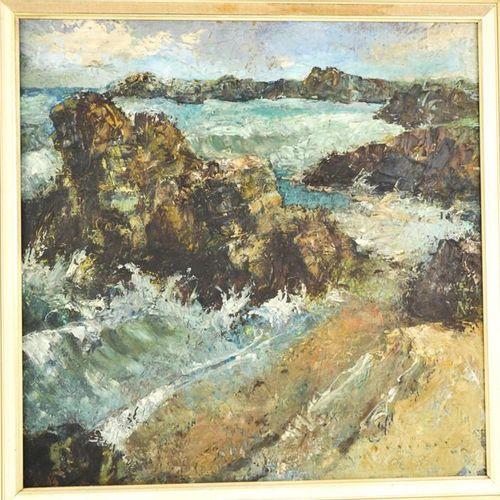 H W Wright (20ème siècle) : Coast, huile sur carton, signé en bas à droite, 39 p…
