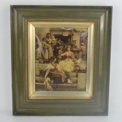 Une peinture Victorienne de Verre Eglomise. 19cm x 24cm