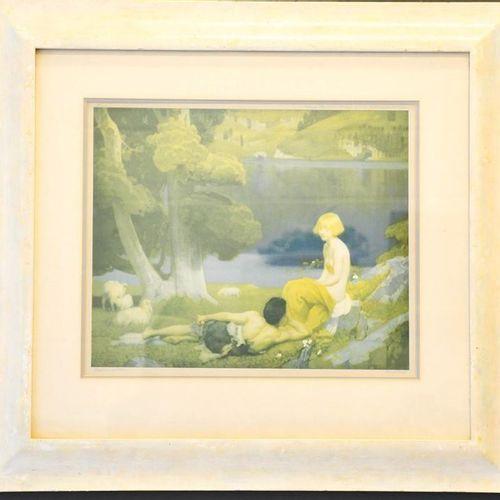 Deux gravures : Maxwell Parish, Daybreak, tirage couleur, 44 x 72 cm, et Harold …