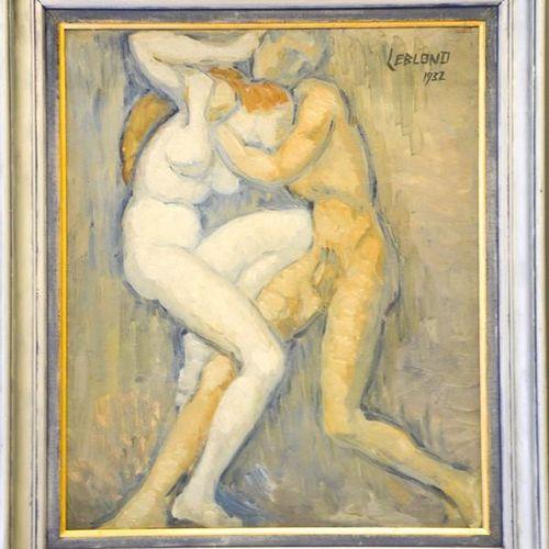 Leblond (20e siècle) : personnages enlacés, huile sur carton, signé et daté 1932…