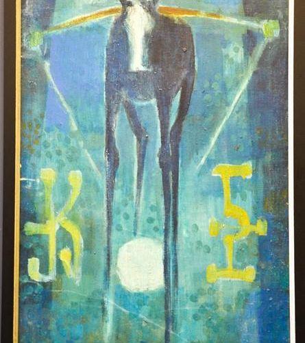 Hiovanola (russe) : cheval et symboles, signé et daté '55, 60 par 36cm.