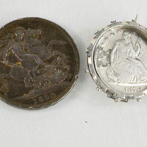 Un demi dollar assis de 1870 et une couronne de 1898.