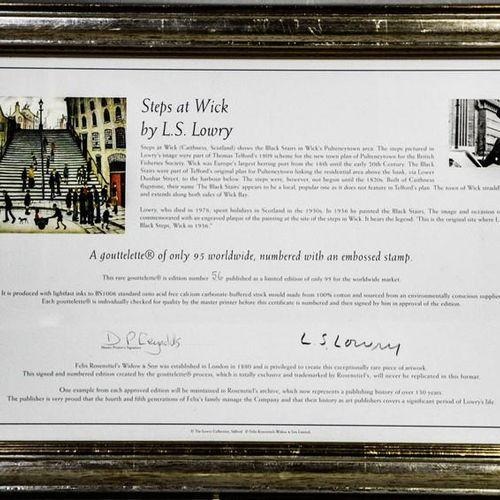 Laurence Stephen Lowry : tirage couleur, The Steps at Wick, numéroté 56/95 avec …