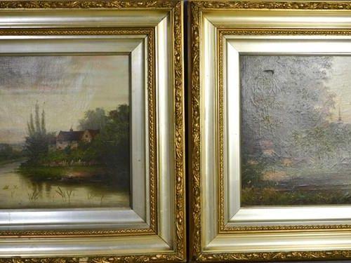 Une paire d'huiles sur toile du 19ème siècle, représentant du bétail dans un pay…