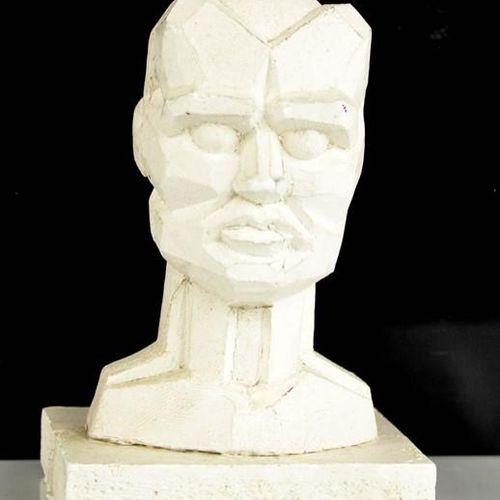 Tête en plâtre d'Eduardo Paolozzi (1924 2005) avec inscription personnelle sur l…