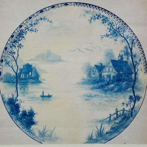 Deux aquarelles du 19ème siècle représentant des études/dessins d'assiettes bleu…