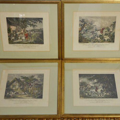 Un ensemble de quatre gravures de chasse du 19ème siècle, peintes par G Morland,…