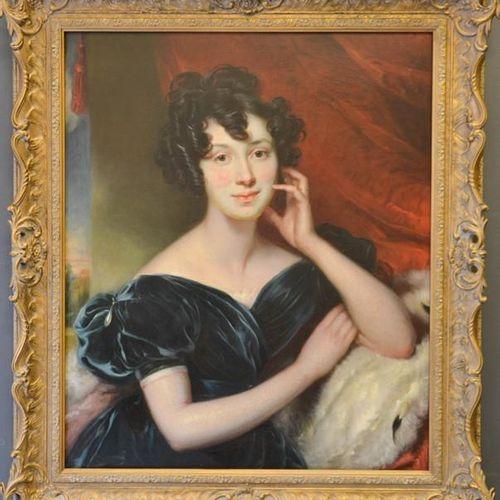 George Henry Harlow (1787 1819) : portrait d'une dame portant une robe de velour…