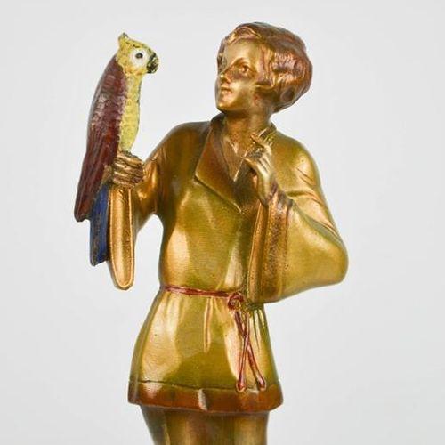 Josef Lorenzl (1892 1950) : Pyjama Girl with Parrot, figurine Art Déco vers 1930…