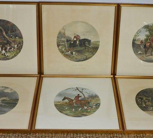 Un ensemble de six estampes du 19ème siècle, scènes de chasse en rondeaux, gravé…