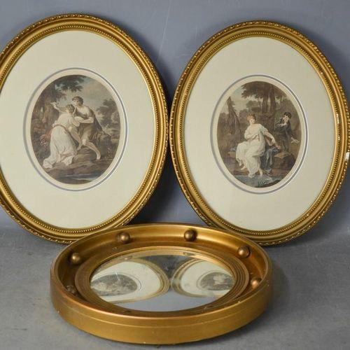 Un miroir hublot, 37 cm de diamètre, ainsi qu'une paire de reproductions colorée…