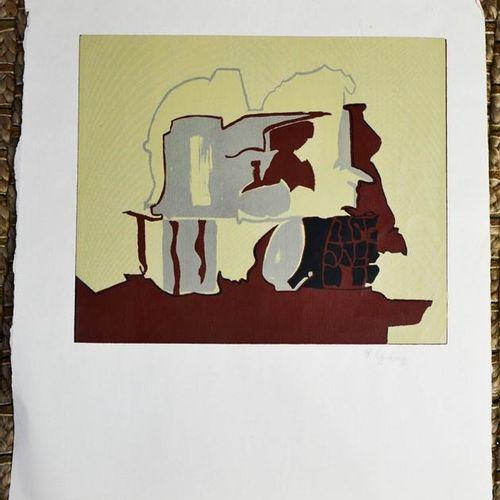 Ginsbury (20e siècle) : gravure abstraite sur bois en couleur, 49 x 43 cm.