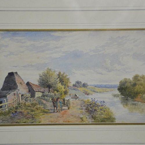 J. Hardwick Lewis, The Thames from Culham Lock below Oxford, aquarelle, monogram…