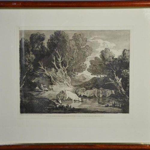 Thomas Gainsborough, paysage forestier, gravure du 20ème siècle, 28 par 33cm.